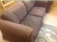 Chocolate Brown 3 seater sofa and arm chair