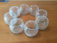 8 glass tea light holders / decorations