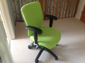 Lime green and black office swivel chair adjustable height and back