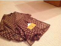Louis Vuitton style silk brown scalve