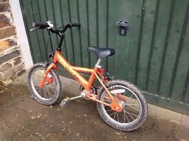 Kid's bike. Raleigh ride. 16 inch wheels. No gears. For about 3-6/7 year old.