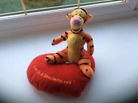 Tigger & heart shaped cushion soft teddy toy