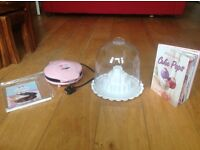 Electric Cake Pop Maker, display dome and recipe book.