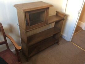 Wooden shelf unit with display cabinet. Unusual piece.