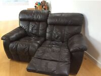 Brown Double leather manual recliner