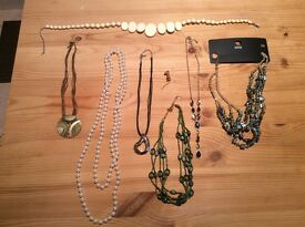 Job lot costume jewellery necklaces & cat brooch
