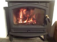 Wood burning stove. 11kw (max) output. Clean burn technology. Cast iron. Top quality.
