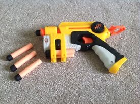 Bundle of 2 NERF foam dart guns and 1 Buzzbee foam dart gun