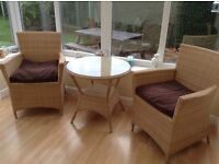 Rattan Conservatory / Patio furniture set in natural wicker colour
