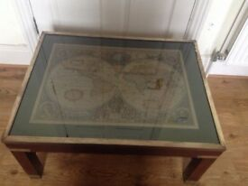 Lovely Campaign Military Style Coffee Table with Map Detailed glass covered surface