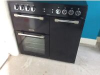 Leisure electric range cooker, ceramic hob, black with grill, small and large ovens. Good condition