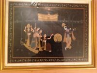 Indian silk painted picture framed