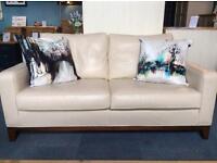 Multi York Cream Leather Sofa - Mahogany Frame - £2700 NEW