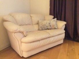 Italian Leather Couches (x2) and armchair- Cream