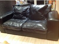 Black leather DFS 3 seater & 2 seater with cushions