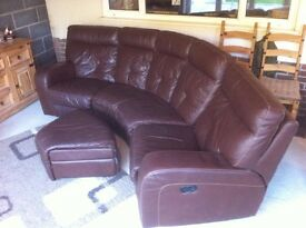 Leather 5 seater sofa with storage foot stool (REDUCED)