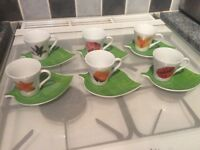 Set of six espresso cups and saucers