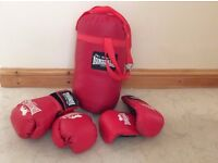 Childs Lonsdale hanging punch bag and 2 pairs of gloves