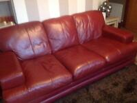 Deep red leather sofas