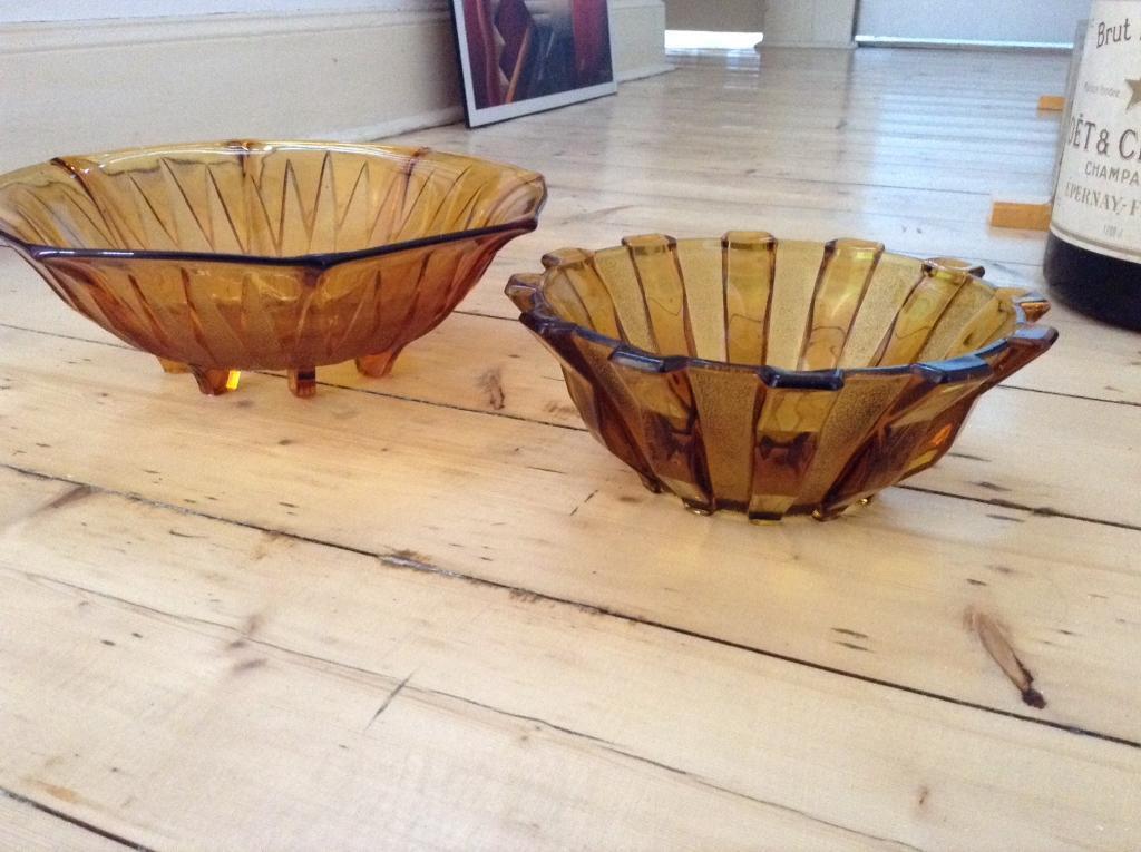 Amber glass vintage bowls
