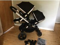 ICandy peach 3 black magic blossom double pushchair
