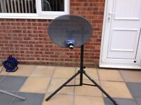 Satellite Dish with Tripod Satellite Finder and Sky Digibox