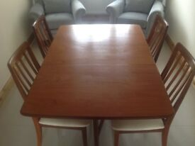 G PLAN Retro Teak Dropleaf Dining Table & 4 Chairs