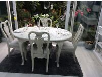 Distressed table with 4 chairs new covers