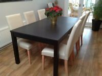 Ikea Bjursta Black Extendable dining table & 6 cream chairs