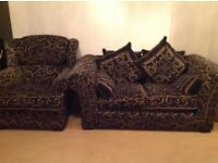Sofa Suite - double & single unit with matching Pillows & matching Footstool with storage