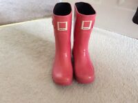 Ladies Pink Barbour Wellingtons Size 3/4