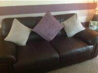 Brown Leather Large two seater and Small two seater Settees