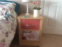 Vintage/shabby chic style small chest of drawers/ bedside table Up cycled Park Furnishers