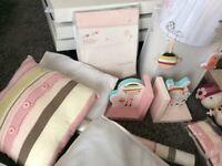 Nursery bed set Mamas & Papas scrapbook girl guilt curtains and more
