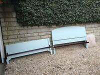 Vintage double bed with sprung metal base. Painted F & B Green Blue.