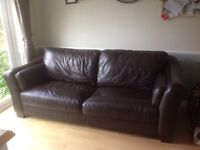 Leather 3 seater sofa with fixed cushions