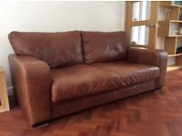 Italian Leather Three Seater Sofas and Armchair