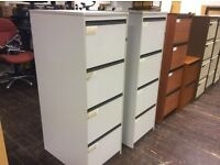 Four Drawer Grey Wood Filing Cabinet