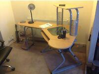 Home Office L Shaped Corner Computer Desk Keyboard Shelf, Printer Stand CD Storage