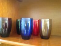 5 retro coloured tumbler glasses