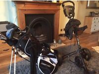 Full set of golf clubs,trolley,balls and tees