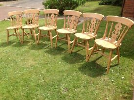 Six matching farmhouse fiddleback chairs -can deliver