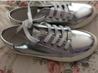 BRAND NEW SILVER 'FAITH' SHOES/TRAINERS SZ 4