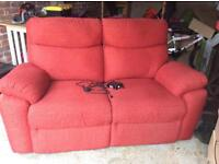 2 seater electric recliner sofa and 2 arm chairs