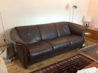 EKORNES STRESSLESS BROWN LEATHER SOFA