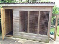 Large outside wooden dog kennel