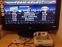Super Nintendo Entertainment System Console & 1 games NBA live 96 & AV Cable SNES