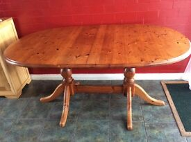 SOLID PINE DOUBLE PEDESTAL EXTENDING DINING/KITCHEN TABLE