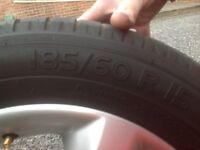 "Set of four 15"" volkswagon audi skoda seat wheels with good Michelin Energy saver tyres 5*100 stud"