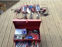 Various tools and toolbox for sale plus spray guns and helmets will sell separate